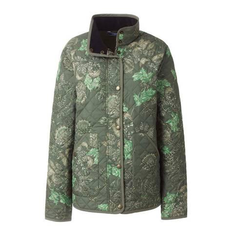 Lands End Fatigue Olive Floral Patterned PrimaLoft Packable Jacket