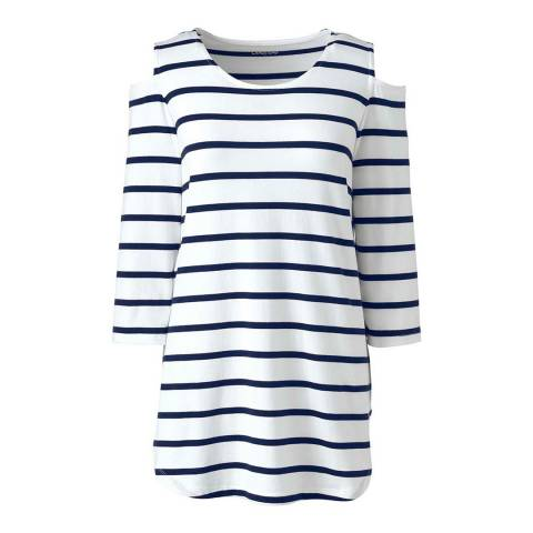Lands End White/Deep Sea Stripe Cotton/Modal Striped Cold Shoulder Top