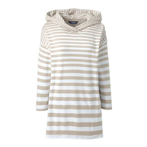 Lands End Khaki Grey Stripe Striped Ponte Jersey Hoodie