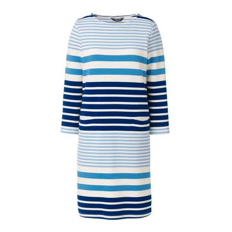 Lands End Blue Bayou Multi Stripe 3-quarter Sleeve Striped Ponte Dress