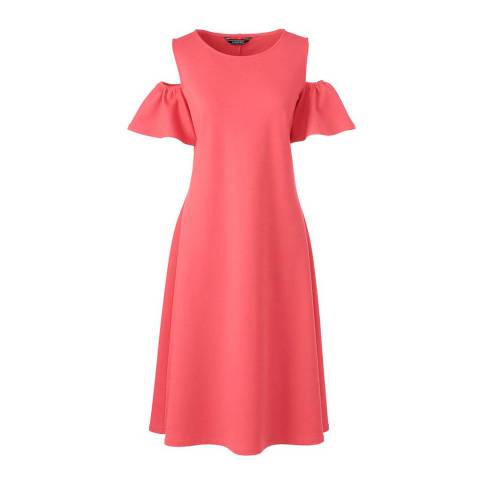 Lands End Light Watermelon Sorbet Cold Shoulder A-line Ponte Dress