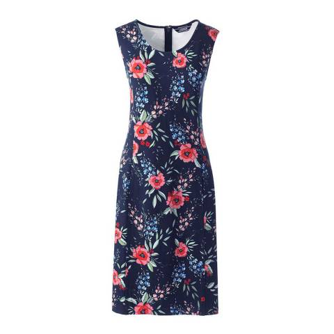 Lands End Fresh Coral Floral Sleeveless Shift Dress in Print Ponte Jersey