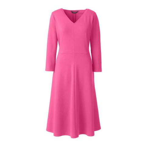 Lands End Intense Pink 3-quarter Sleeve A-line Ponte Dress