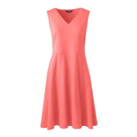 Lands End Fresh Coral Sleeveless Ponte Jersey Dress