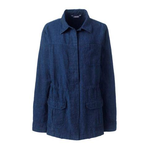Lands End Dark Blue Casual Linen Jacket