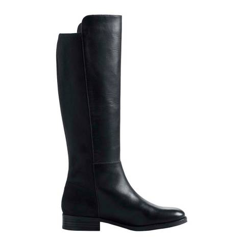Lands End Black Leather/Stretch Boots