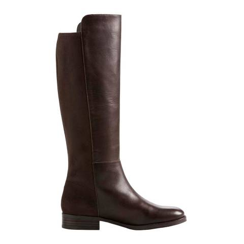 Lands End Dark Chocolate Brown Leather/Stretch Boots