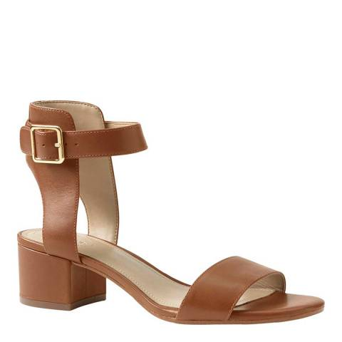 Lands End Classic Tan Regular Block Heel Leather Sandals