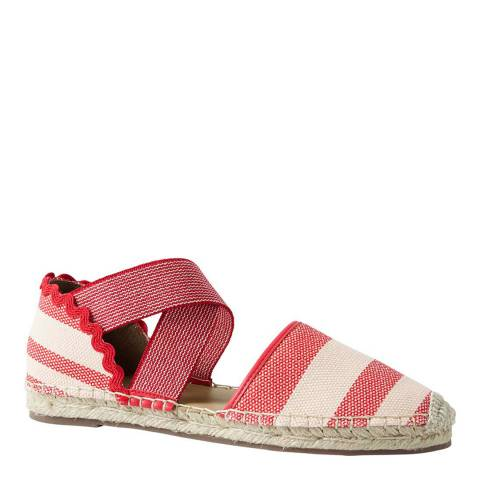 Lands End Compass Red Stripe Cross-strap Espadrille Sandals