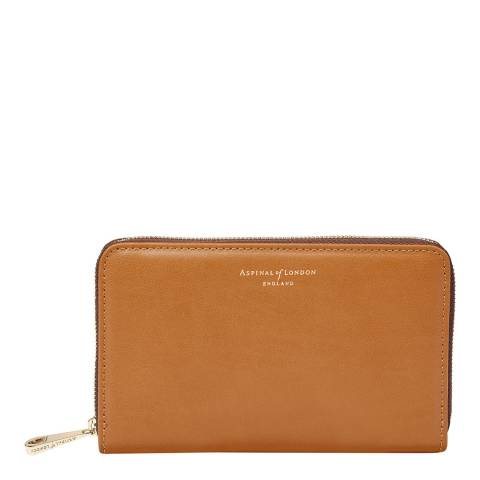 Aspinal of London Continental Midi Wallet Tan Smooth
