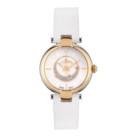 Richtenburg Women's White Leather Stainless Steel Quartz Watch