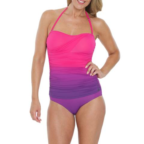 Seaspray Lipstick Ombre Draped Bandeau Swimsuit