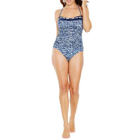 Seaspray Blue Cassiopia Panel Front Bandeau Swimsuit