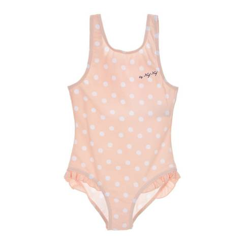 Naf Naf Girls Light Pink Polka Dot Swimsuit