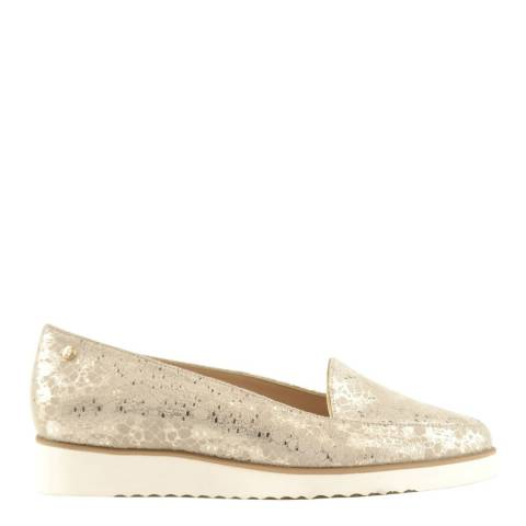 Bosccolo Beige Metallic Chunky Heel Moccasin Shoes
