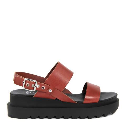 Gusto Red Leather Chunky Heel Flatforms