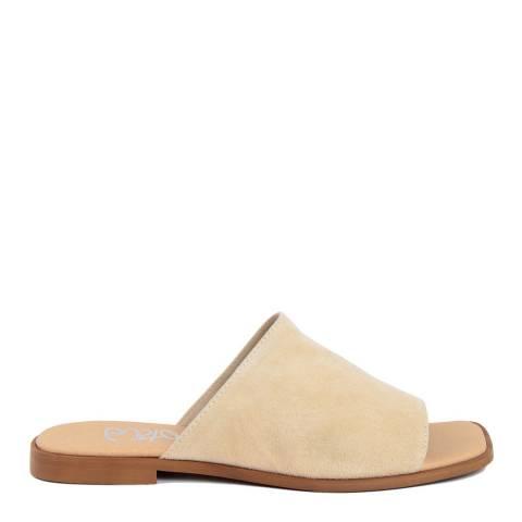 Gusto Beige Suede Flat Sandals