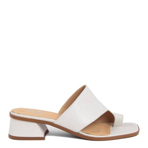 Gusto White Leather Tantra Heeled Sandals