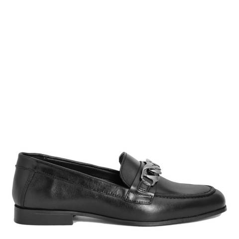 Gusto Black Leather Chain Loafers