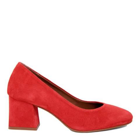 Gusto Red Suede Round Toe Block Heel
