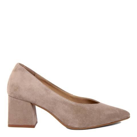 Gusto Beige Suede Pointed Toe Block Heel