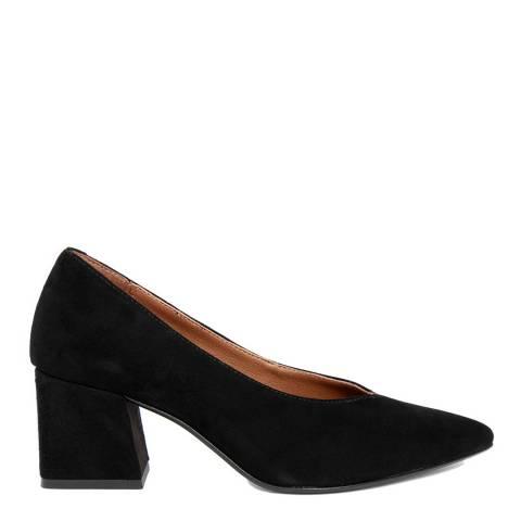 Gusto Black Suede Pointed Toe Block Heel
