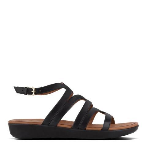FitFlop Black Leather Strata Gladiator Sandals