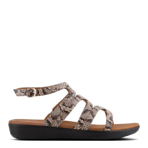 FitFlop Taupe Leather Snake Effect Strata Gladiator Sandals