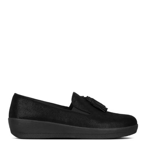 FitFlop Black Shimmersuede Tassel Superskate Loafers