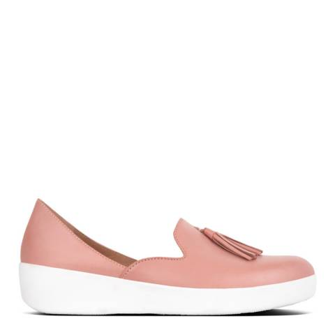 FitFlop Dusky Pink Leather Tassel Superskate  Loafers
