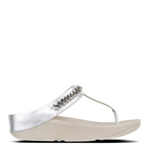 f2e80eacc Silver Leather Fino Chain Toe Post Sandals - BrandAlley