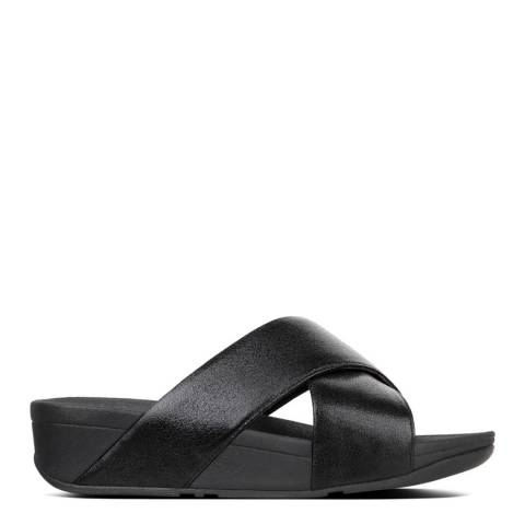 FitFlop Black Leather Lulu Molten Metal Slides