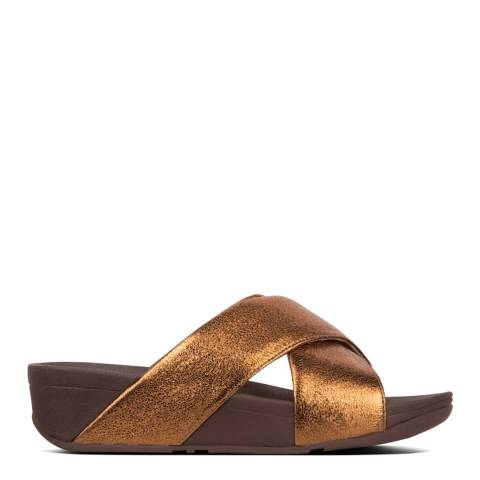 FitFlop Bronze Leather Lulu Molten Metal Slides