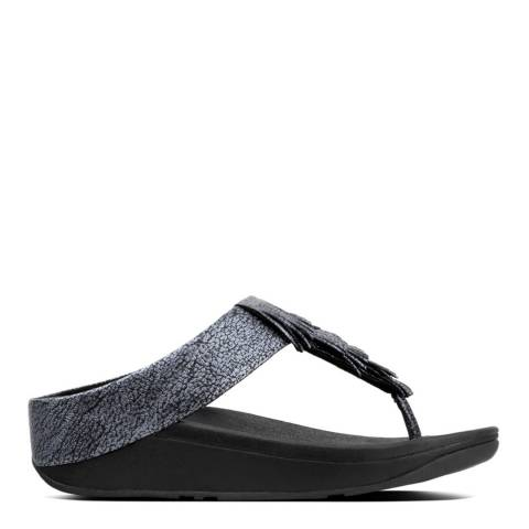 FitFlop Black Leather Metallic Cha Cha Fringed Toe-Thong Sandals