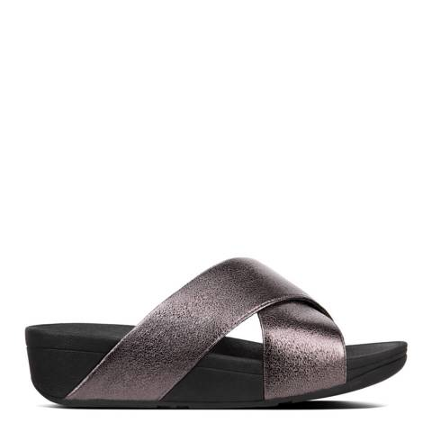 FitFlop Pewter Lulu Molten Metal Cross-Over Strap Slides
