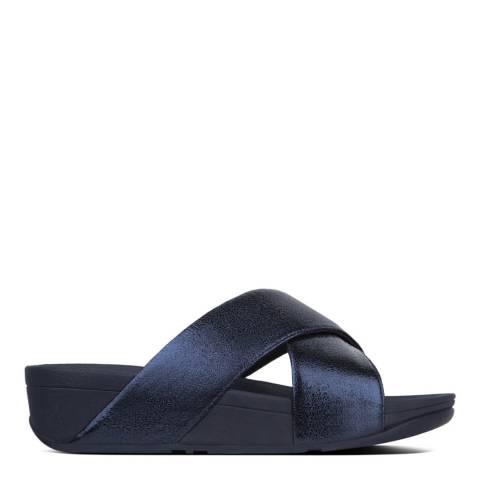 FitFlop Blue Lulu Molten Metal Slide Sandals
