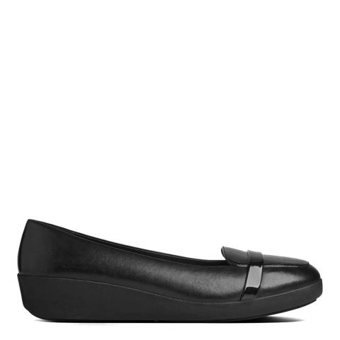 FitFlop Black Leather F-Pop Loafers