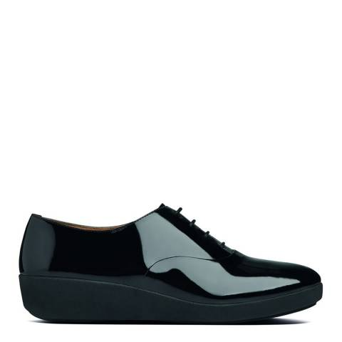 FitFlop Black Leather Patent F-Pop Oxford Shoes