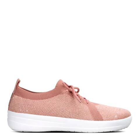 FitFlop Dusky Pink Metallic Weave F-Sporty Uberknit Sneakers