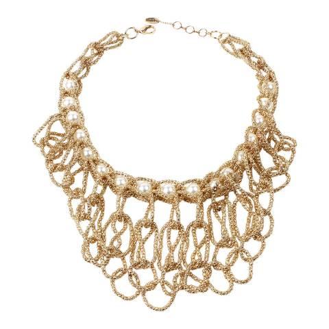 Amrita Singh Gold Tone Glass Pearl Statement Necklace