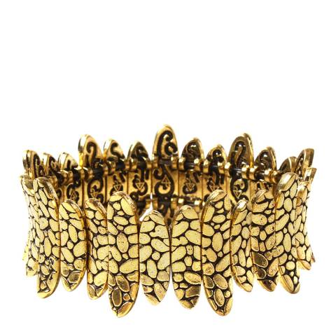 Amrita Singh Antique Gold Hammered Finish Stretch Bracelet