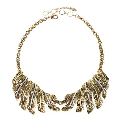 Amrita Singh Gold Tone Textured Birch Leaf Austrian Crystal Necklace