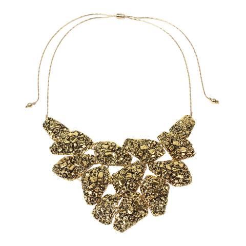 Amrita Singh Antique Gold Hammered Edge Vintage Bib Necklace