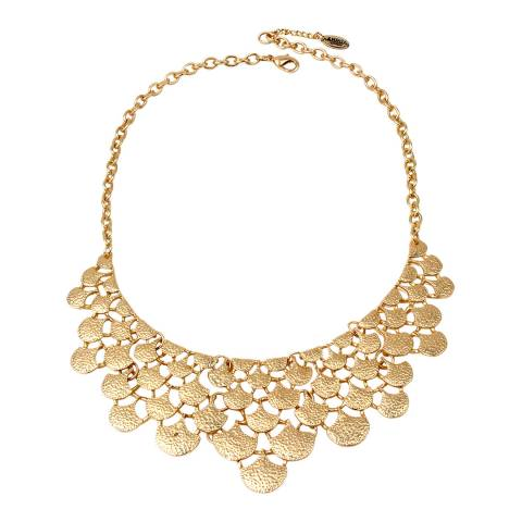 Amrita Singh Gold Tone Elevated Circular Charm Bib Necklace