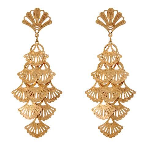 Amrita Singh Gold Tone Tiered Filigree Statement Earrings
