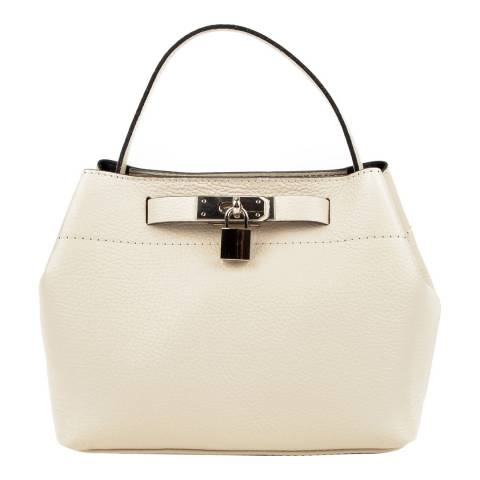 Isabella Rhea Beige Leather Lock Feature Top Handle Bag