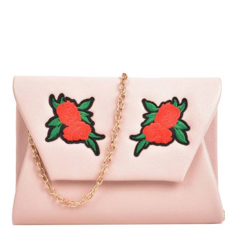 Mangotti Pink Rose Applique Clutch Bag