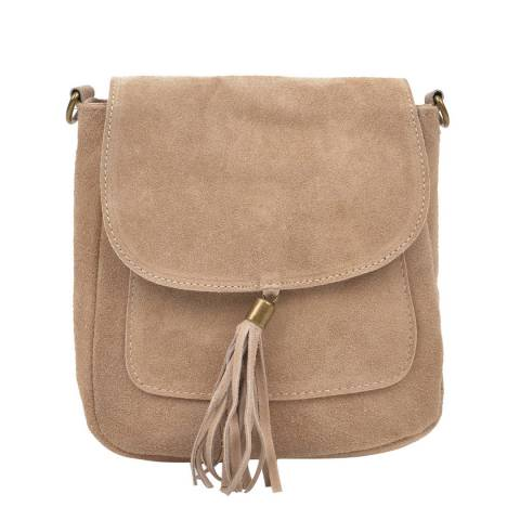 Anna Luchini Beige Suede Tassel Shoulder Bag