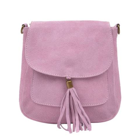Anna Luchini Pink Suede Tassel Shoulder Bag