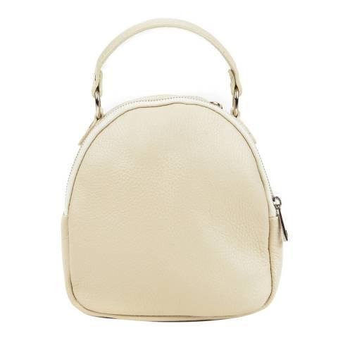 Isabella Rhea Cream Leather Backpack
